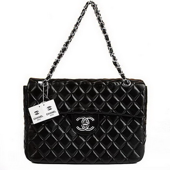 Best Chanel Flap Shoulder Bag A35974 Black Lambskin Silver On Sale
