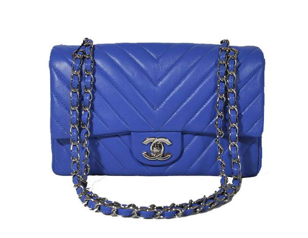 Best Chanel A36068 Lambskin Leather Shoulder Bag Blue On Sale