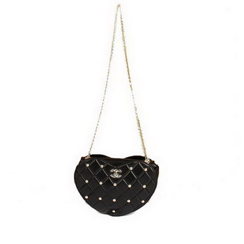 Best Chanel Heart-Shaped Shoulder Bag A47589 Black On Sale