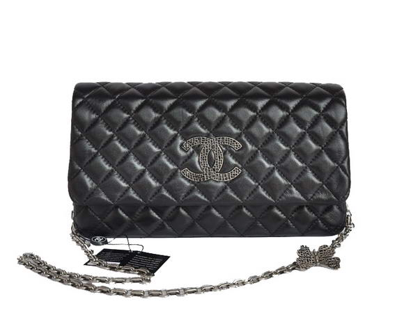 Best Chanel A58034 Lambskin Leather Flap Bag Black On Sale