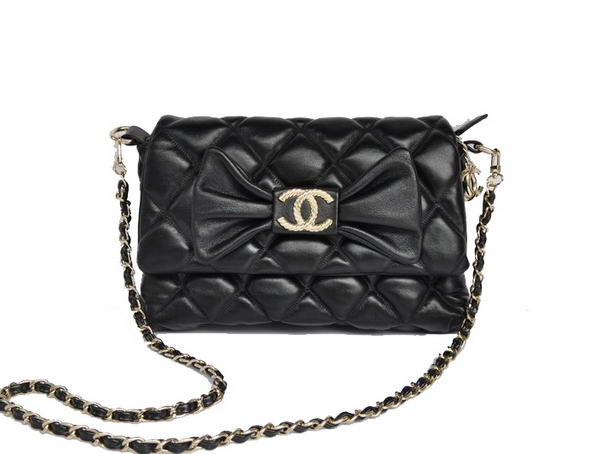 Best Chanel Bowknot Flap Shoulder Bag A99112 Black On Sale