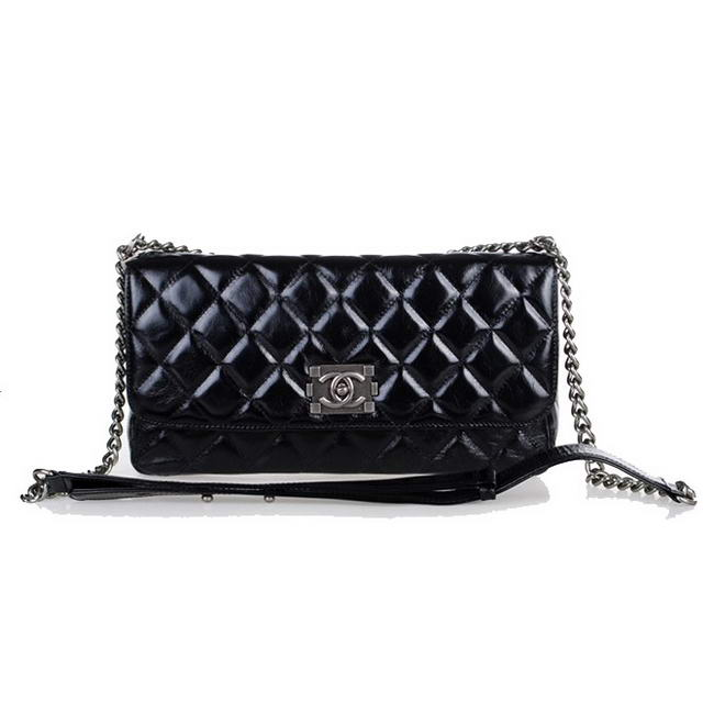 Best Chanel Bright Leather Flap Bag A30123 Black On Sale