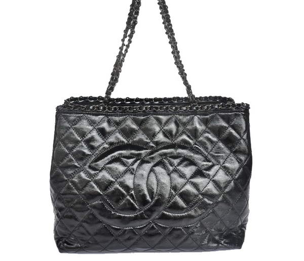 Best Chanel Bright Leather Shoulder Bag 1171 Black On Sale
