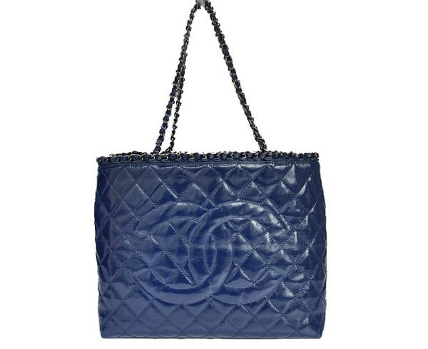 Best Chanel Bright Leather Shoulder Bag 1171 Blue On Sale
