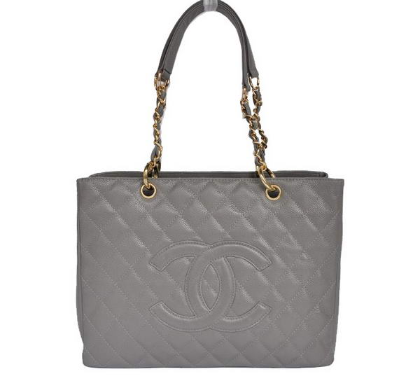 Best Chanel Classic Bag Shopper Tote Handbags 20995 Grey Gold On Sale