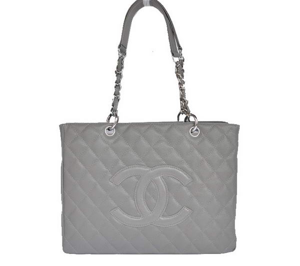 Best Chanel Classic Bag Shopper Tote Handbags 20995 Grey Silver On Sale