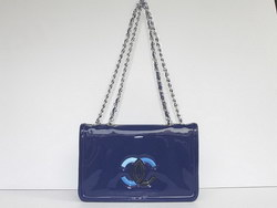 Best Chanel Fashion Shoulder Bags Blue Patent Leather 47965 On Sale