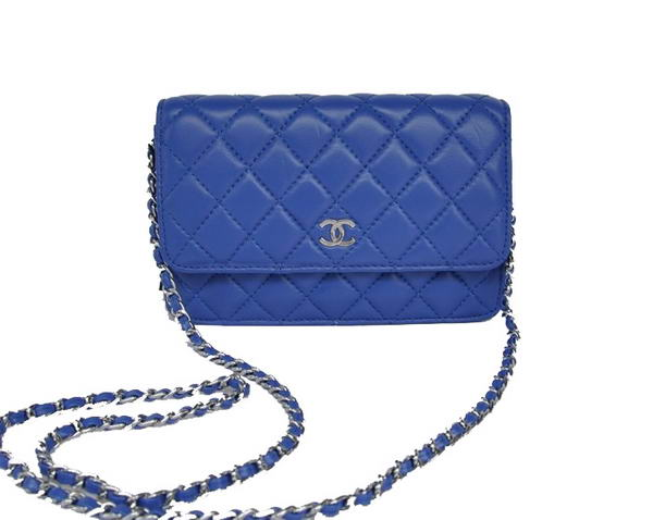 Best Chanel Lambskin Flap Bag A33814 Blue With Silver Hardware On Sale