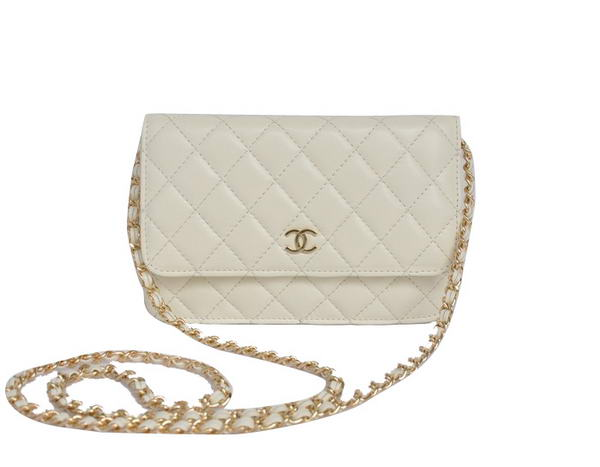 Best Chanel Lambskin Flap Bag A33814 Off-white With Golden Hardware On Sale
