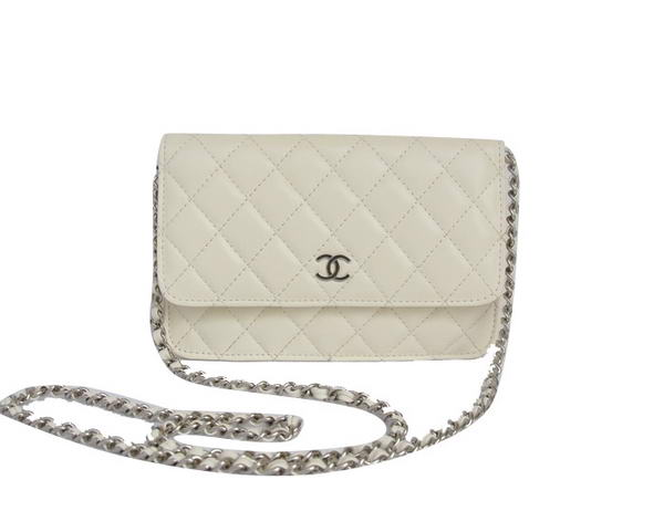 Best Chanel Lambskin Flap Bag A33814 Off-white With Silver Hardware On Sale
