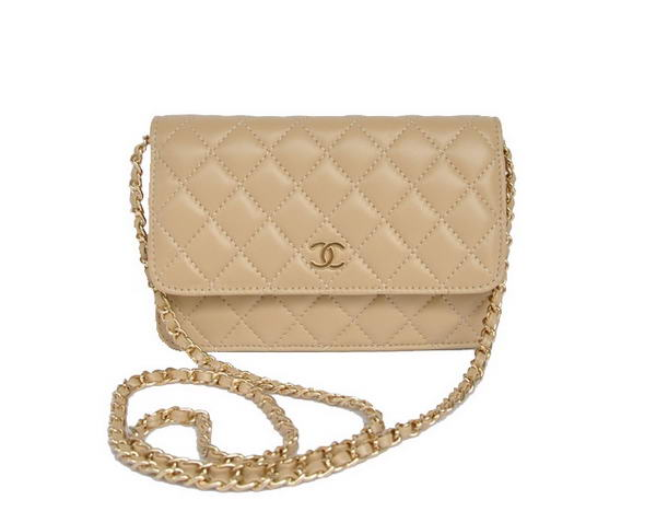 Best Chanel Lambskin Leather Flap Bag A33814 Apricot Gold On Sale