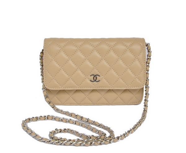 Best Chanel Lambskin Leather Flap Bag A33814 Apricot Silver On Sale