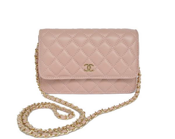 Best Chanel Lambskin Leather Flap Bag A33814 Pink Gold On Sale