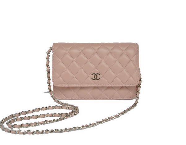 Best Chanel Lambskin Leather Flap Bag A33814 Pink Silver On Sale