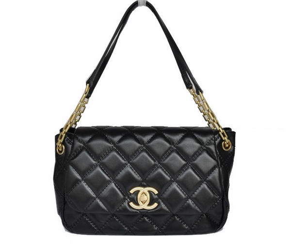 Best Chanel Lambskin Leather Flap Bags A50360 Black On Sale