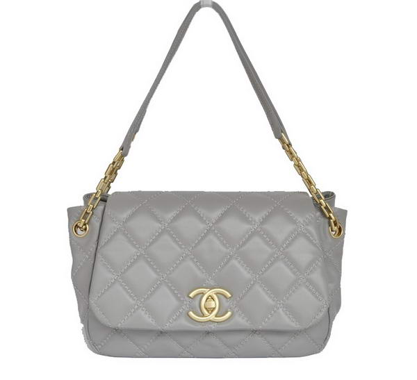 Best Chanel Lambskin Leather Flap Bags A50360 Grey On Sale