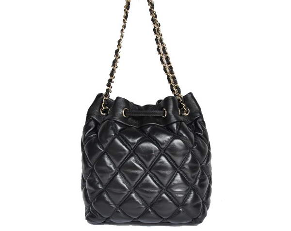 Best Chanel Lambskin Leather Hobo Bag A80030 Black On Sale