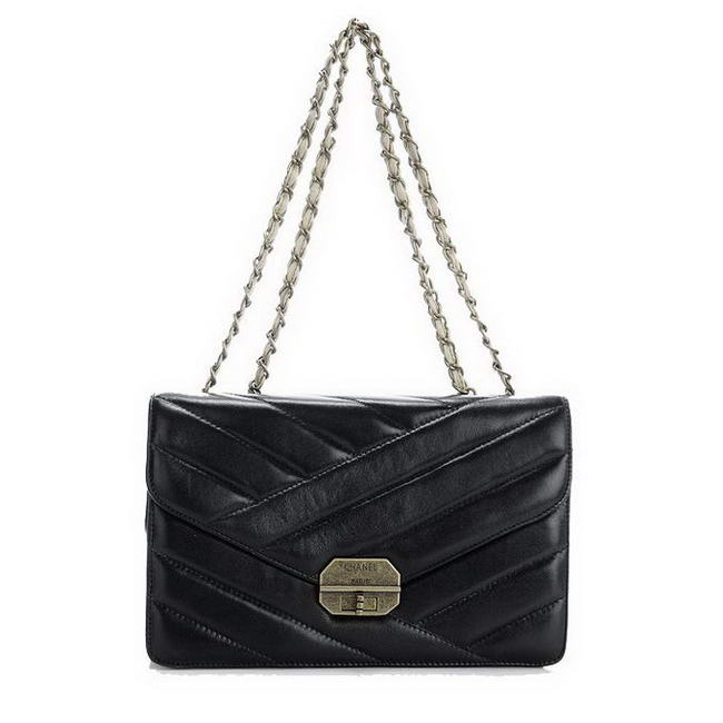 Best Chanel Lambskin Leather Shoulder Bag A1102 Black On Sale