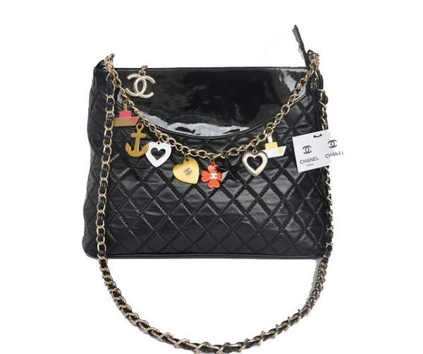 Best Chanel Lambskin Leather Shoulder Bag A98008 Black On Sale