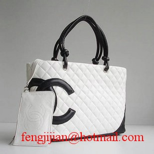 Replica Chanel Lambskin Large Tote Bag White-Black CC 9005 On Sale
