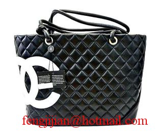 Replica Chanel Lambskin Large Tote Bag Black -White CC 9005 On Sale