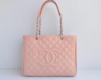 Replica Chanel Patent Leather Shopper Tote Handbags A20995 Pink Silver Chain On Sale
