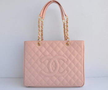 Replica Chanel Patent Leather Shopper Tote Handbags A20995 Pink Gold Chain On Sale