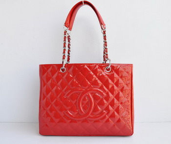 Replica Chanel Patent Leather Shopper Tote Handbags A20995 Red Silver Chain On Sale
