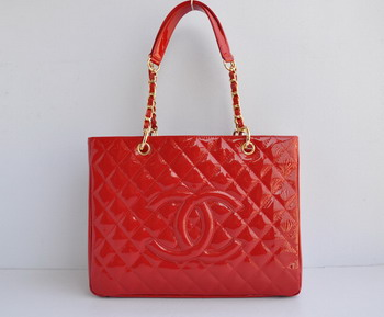 Replica Chanel Patent Leather Shopper Tote Handbags A20995 Red Gold Chain On Sale