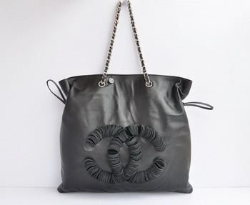 Replica Chanel Coco Lambskin Large Tote Bag 35955 Black On Sale