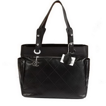 Replica Chanel Paris Biarritz Large Tote Black Lambskin A34210 On Sale