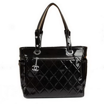 Replica Chanel Paris Biarritz Large Tote Black Patent A34210 On Sale