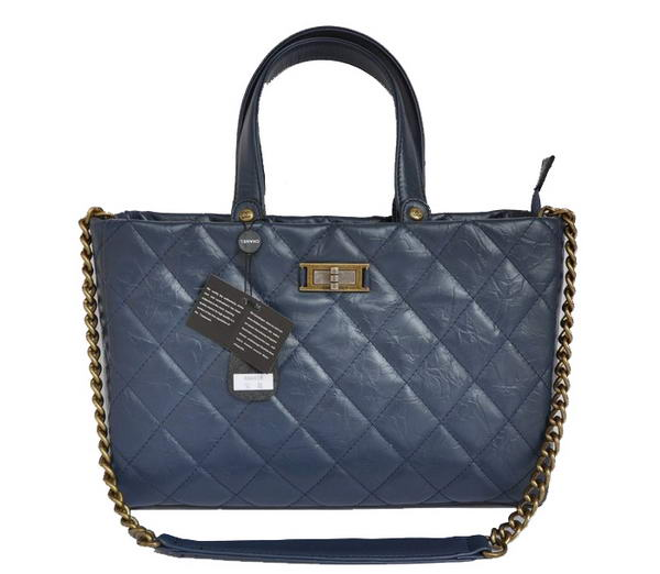 Replica Chanel Glazed Crackled Calfskin Tote Bag A66818 Blue On Sale
