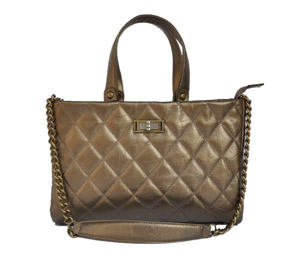 Replica Chanel Glazed Crackled Calfskin Tote Bag A66818 Bronze On Sale