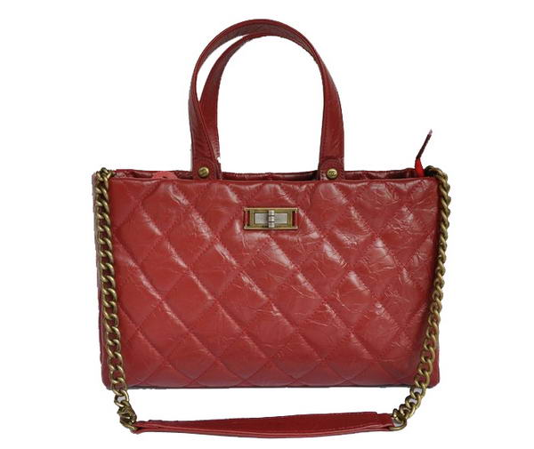 Replica Chanel Glazed Crackled Calfskin Tote Bag A66818 Red On Sale