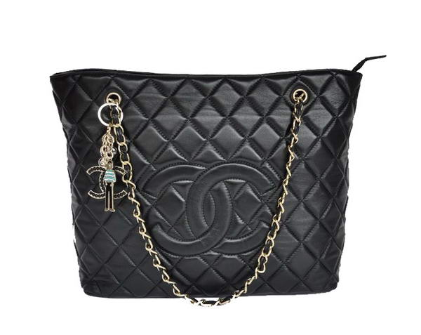 Replica Chanel Larege Quilted Lambskin Leather Tote Bag 2053 Black On Sale