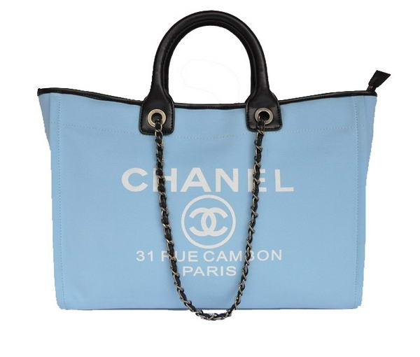 Replica Chanel Large Canvas Tote Shopping Bag A66942 Blue On Sale