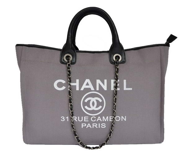 Replica Chanel Large Canvas Tote Shopping Bag A66942 Grey On Sale