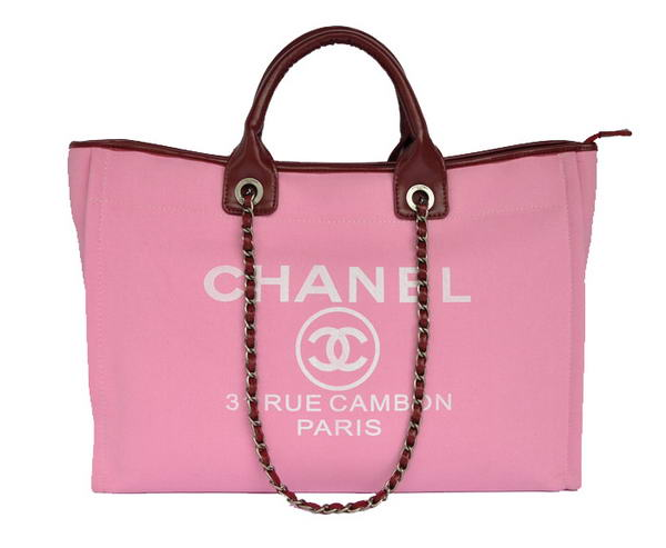 Replica Chanel Large Canvas Tote Shopping Bag A66942 Peach On Sale