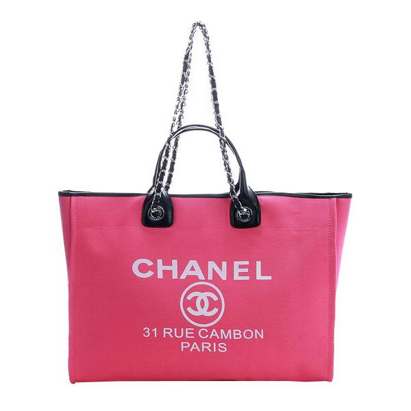 Replica Chanel Large Canvas Tote Shopping Bag A66942 Rosy On Sale