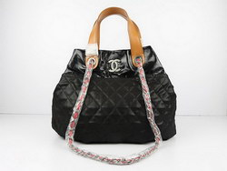 Replica Chanel Large Tote Bag Black Lambskin Leather 50133 On Sale