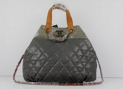 Replica Chanel Large Tote Bag Gray Lambskin Leather 50133 On Sale