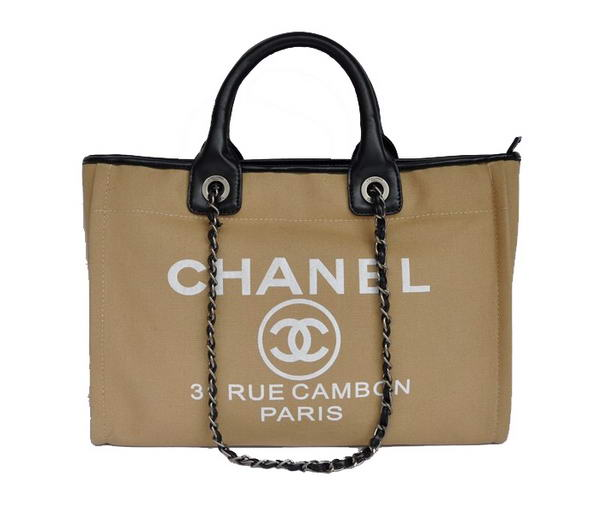 Replica Chanel Medium Canvas Tote Shopping Bag A66941 Apricot On Sale