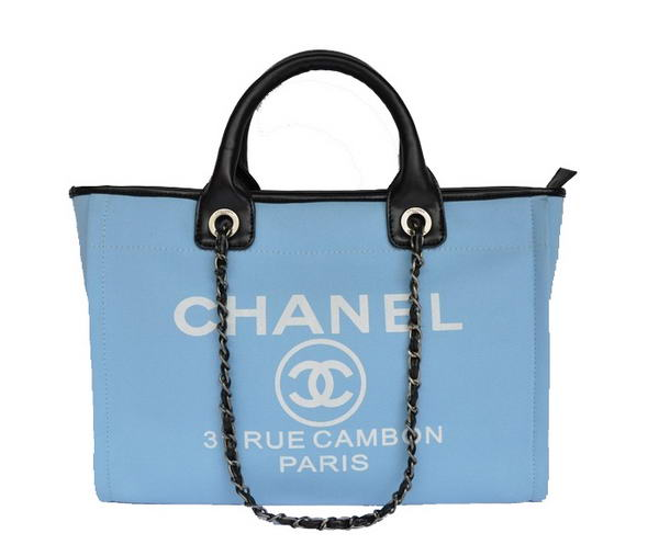 Replica Chanel Medium Canvas Tote Shopping Bag A66941 Blue On Sale