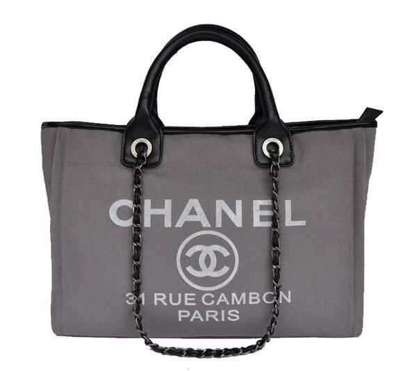 Replica Chanel Medium Canvas Tote Shopping Bag A66941 Grey On Sale