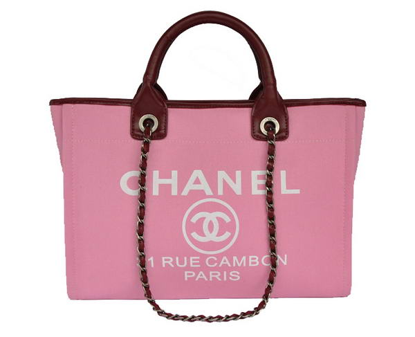 Replica Chanel Medium Canvas Tote Shopping Bag A66941 Peach On Sale