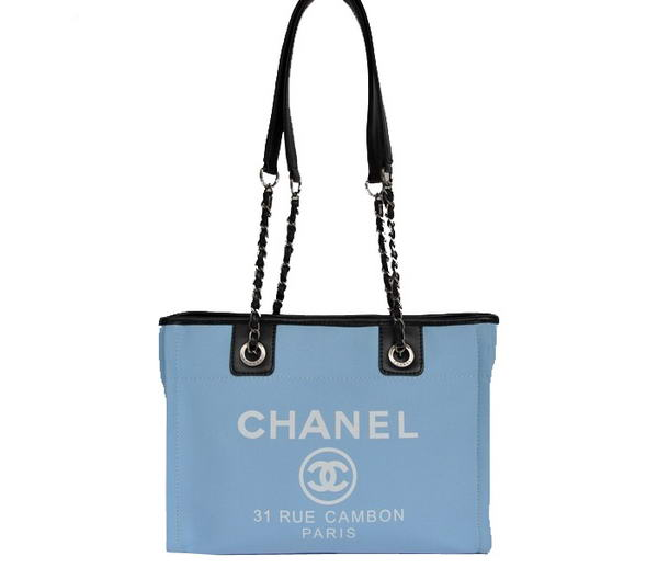 Replica Chanel Small Canvas Tote Shopping Bag A66939 Blue On Sale