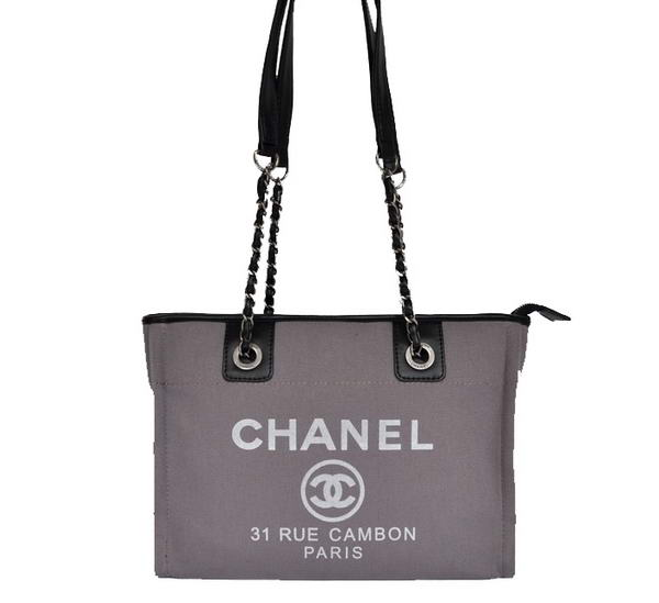 Replica Chanel Small Canvas Tote Shopping Bag A66939 Grey On Sale