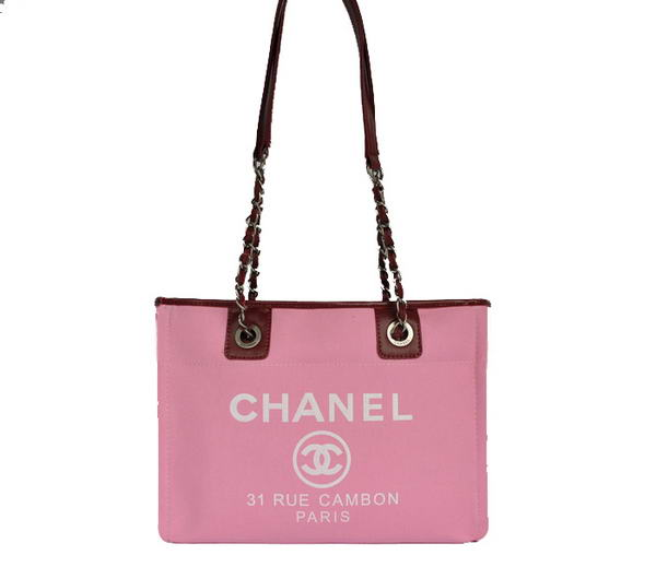 Replica Chanel Small Canvas Tote Shopping Bag A66939 Peach On Sale