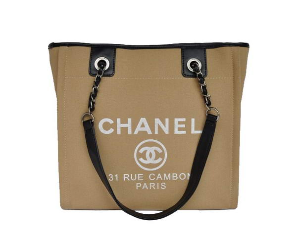 Replica Chanel Small Canvas Tote Shopping Bag A66940 Apricot On Sale